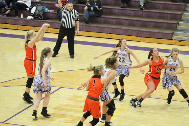 West senior Morgan Rigsby attempts a free-throw during the Lady Senators' road win at Valley on Monday.