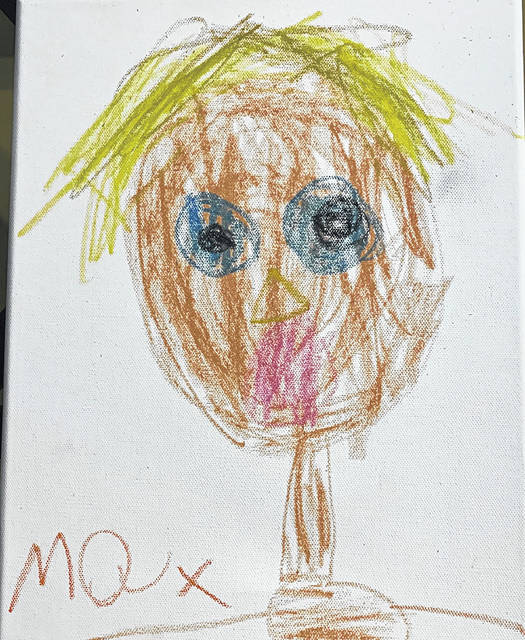 One of Max's self-portraits that he made and sold to help feed other people.