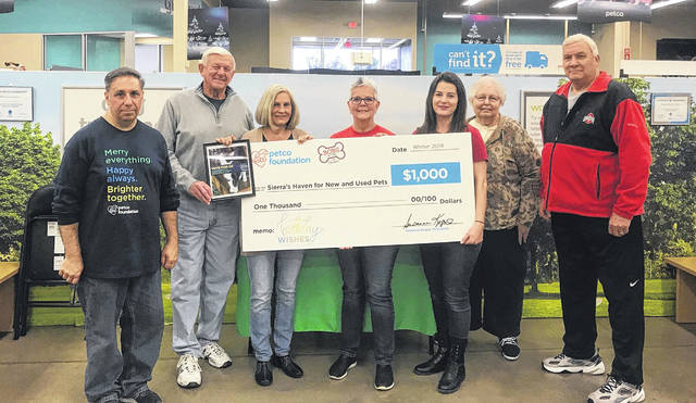The Chillicothe Petco store manager presented an honorable mention award for $1,000 to Sierra's Haven last Tuesday.