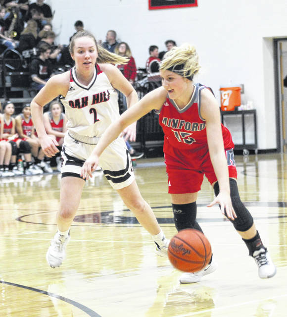 Minford's Livi Shonkwiler (15) drives past Oak Hill's Baylee Howell (2) during Monday night's Southern Ohio Conference Division II girls basketball game at Oak Hill High School.