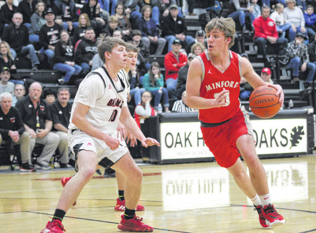 Minford senior Nathan McCormick attempts to drive on Oak Hill senior Drew Hanning during Tuesday night's Southern Ohio Conference Division II boys basketball game at Oak Hill High School.