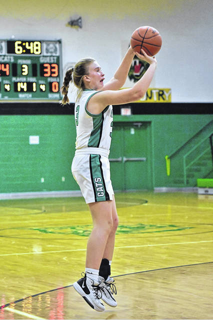 Green freshman Anna Knapp (3) scored a team-high 20 points in the Lady Bobcats home loss to Rock Hill on Saturday in non-league play.