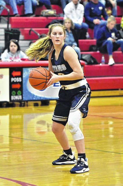 Notre Dame junior Ava Hassel (3) is averaging 16.9 ppg during the Titans' 10-0 start to the '19-20 season.