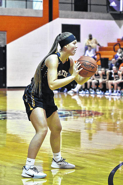 Wheelersburg senior Brittani Wolfenbarker makes a pass in a Lady Pirates game during their 12-1 start to their 2019-20 season.
