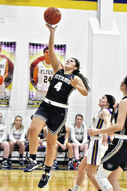 Notre Dame senior Cassie Schaefer (4) scored a season-high 18 points in the Lady Titans' 26-point road win over the Valley Lady Indians.