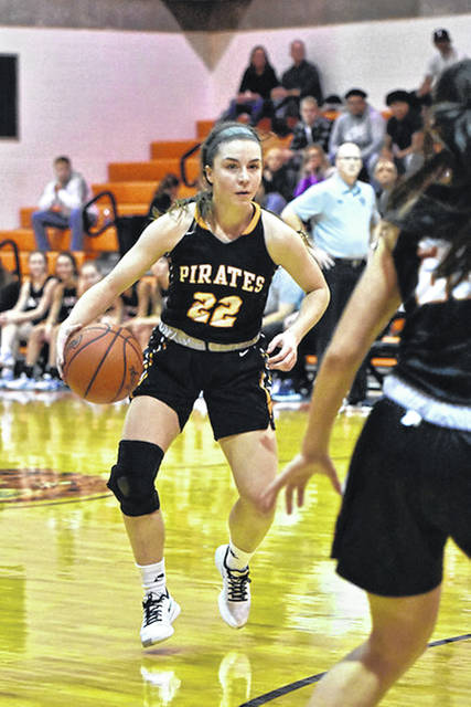 Wheelersburg junior Ellie Kallner handles the ball as her Pirates are off to a 10-1 start to the '19-20 campaign.