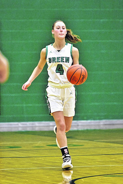 Green sophomore Kasey Kimbler (4) scored 23 points in the Bobcats' win over Clay on Monday in SOC I play.