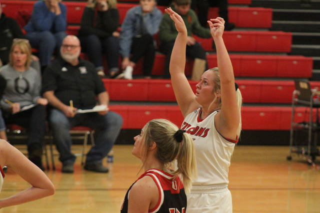 Minford senior Hannah Tolle (15) scored 15 points in the Lady Falcons home win over Jackson on Thursday.