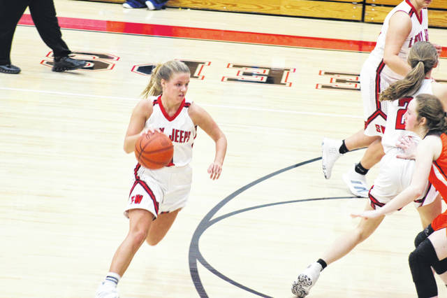 South Webster senior Kenzie Hornikel (5) scored a game-high 17 points in Thursday's home loss to West.