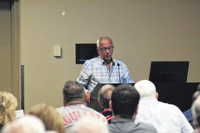 Hall of Fame broadcaster Marty Brennaman was the guest speaker at Wednesday's 16th annual Portsmouth Murals Baseball Banquet.