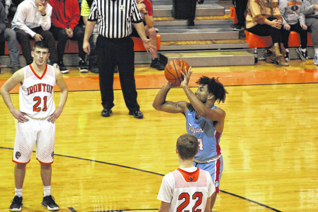 Portsmouth junior Miles Shipp (24) scored a season-high 27 points in the Trojans' one-point loss at Ironton in OVC play on Friday.