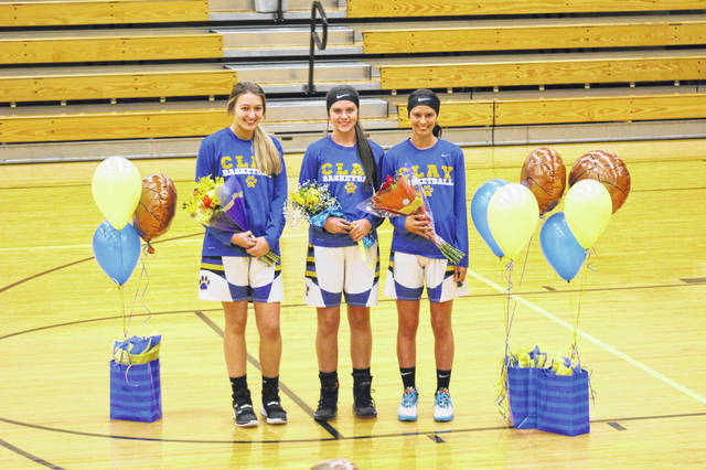 The Clay Lady Panthers hosted and defeeated Ironton St. Joe on Thursday in girls Southern Ohio Conference Division I play. Pictured (L-R) during the Lady Panthers senior night festivites: Kelsey Fowler, Jaelyn Warnock, and Laiken Skinner.