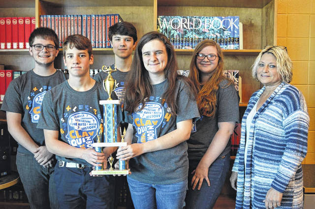 Clay High School - Runners-Up: Left to Right: Andrew Brown, Liam Garrison, Gavin Cayton, Trinity Ketchell, Emily Clausing, Coach Cindy Parkes and Not Pictured: Mallory Swords