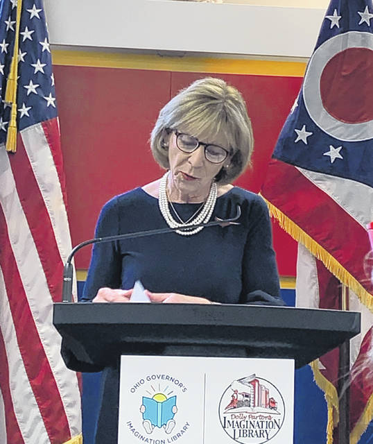 Mrs. Fran DeWine, Wife of Governor Mike DeWine at a short press conference celebrating the success of the Ohio Governor's Imagination Library in Scioto County.