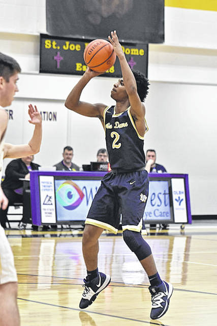 Notre Dame sophomore Jermaine Powell (2) is averaging 13.2 points per game through the Titans' 5-10 start to the '19-20 campaign.