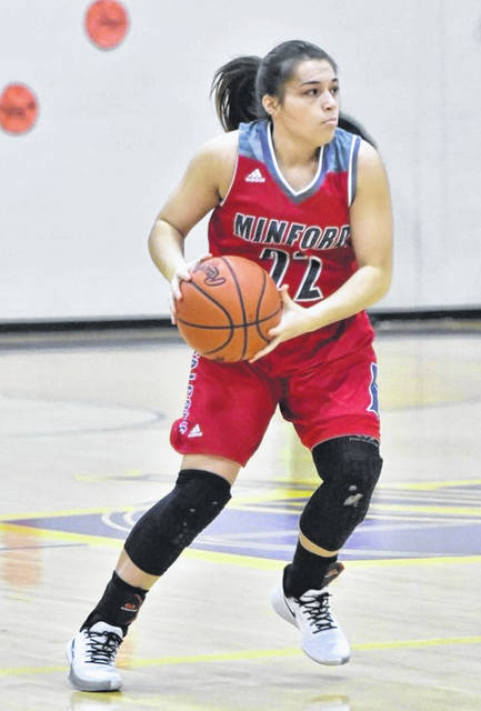 Minford senior Maddie Slusher scored a team-high 22 points in the Lady Falcons' Division III girls basketball sectional semifinal game against New Lexington on Wednesday night.