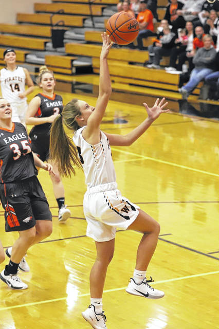 Wheelersburg junior Kaylee Darnell (23) scored her 1,000th career point during the first quarter of the Lady Pirates' 63-31 home win over Eastern in Southern Ohio Conference Division II play. The Lady Pirates also officially clinched the SOC II outright with Monday's win.