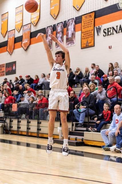 West junior Luke Howard (3) scored a game-high 21 points as the Senators snapped a six-game losing skid with their 57-53 home win over Valley, Tuesday.