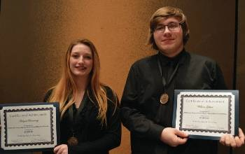 Aaliyah Browning, from Valley High School and William Gilbert, from Minford High School, were awarded $1,000 music scholarships
