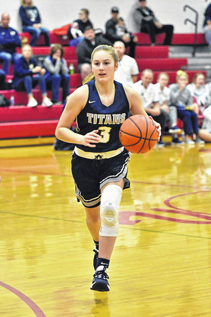 Notre Dame junior Ava Hassel (3) was named the 2019-20 Southern Ohio Conference Division I Player of the Year four days after the Lady Titans won their third district title in program history.
