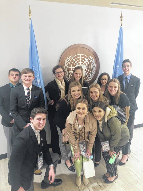 The Minford High School students at the United Nations in New York.