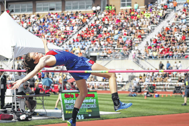 Northwest junior Haydn Wamsley competes in the high jump event at the 2019 Division II State Track and Field Meet on the campus of Ohio State University last May. Wamsley is one of several hundred student-athletes and coaches in Scioto County whose spring sports future is currently undecided as a result of the COVID-19 pandemic and the attempted preventive measures by the Ohio state and federal governments.