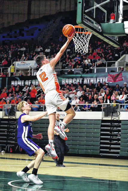Wheelersburg junior Matthew Miller (12) scored a team-high 15 points in the Pirates season-ending loss to Chesapeake in a Division III district semifinal at the Convocation Center in Athens.