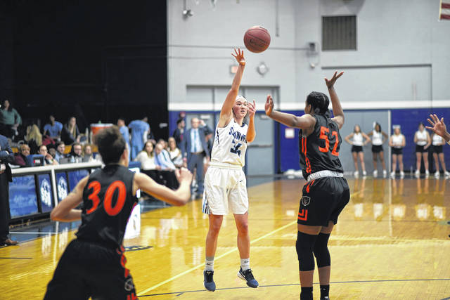 Shawnee State senior Bailey Cummins (34) scored 31 points and grabbed eight rebounds to lead the Bears to an 81-72 win over Thomas More in the 2020 Mid-South Conference Tournament Championship game.