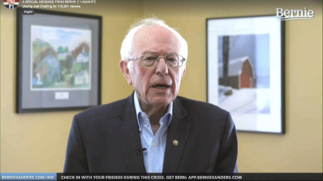 This image from video provided by the Bernie Sanders presidential campaign shows Sen. Bernie Sanders, I-Vt., as he announces he is ending his presidential campaign Wednesday, April 8, 2020, in Burlington, Vt. (Bernie Sanders for President via AP)