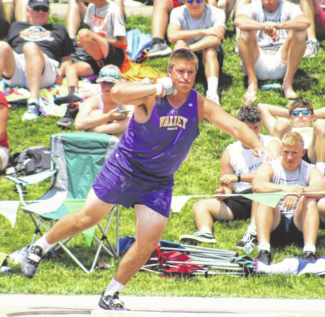 Valley's Jacob Brickey placed seventh in last season's Division III boys shot put as part of the annual state track and field meet.