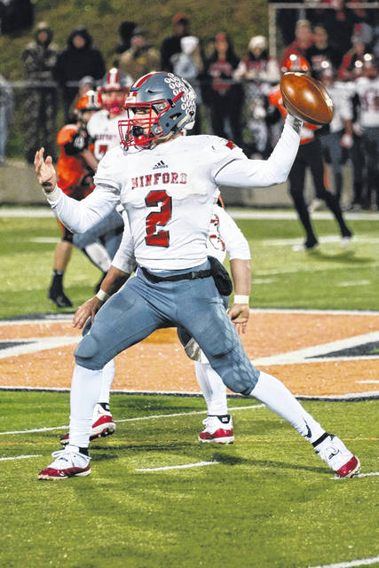 Minford quarterback Elijah Vogelsong-Lewis (2) looks to throw the ball during the Falcons' Division V Region 19 quarterfinal football playoff game at Wheelersburg's Ed Miller Stadium last season.