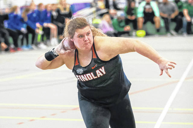 Paige Emnett, a freshman for the University of Findlay and former Wheelersburg High School standout thrower, competes at a meet during the indoor track and field season.