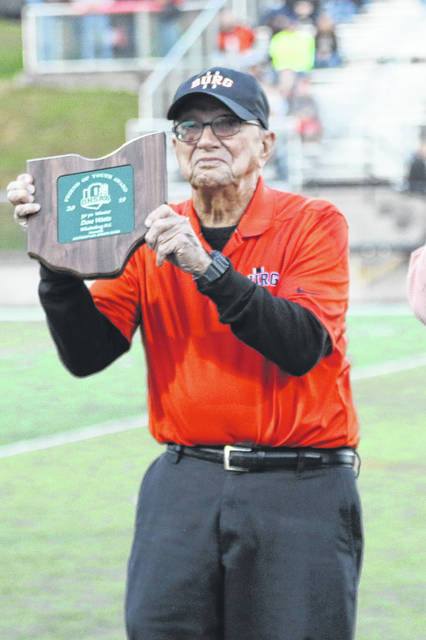 Dave Watts was presented the Friend of Youth award from the Ohio High School Athletic Association's Southeast District Board during the 2019 football season.