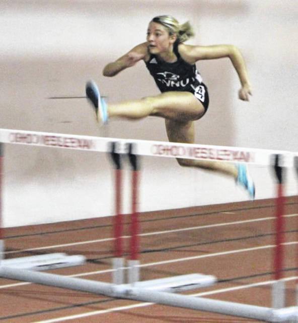 Former Wheelersburg High School standout and current Mount Vernon Nazarene University track and field runner Ellie Ruby competes during an indoor event earlier last academic year.