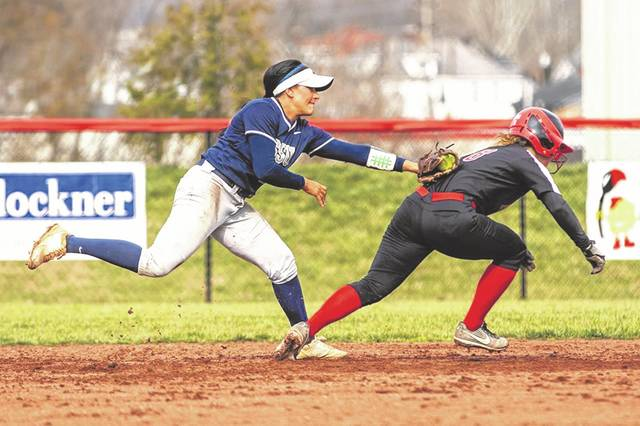 Shawnee State junior Kalle Coleman tags a runner during the Bears' two-game homestand against Kentucky Christian University on March 11.