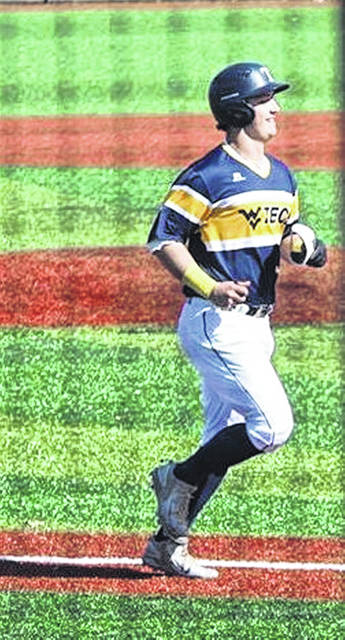 West Virginia Tech freshman and former Minford High School standout Luke Lindamood rounds third base following his first career collegiate home run earlier this season.