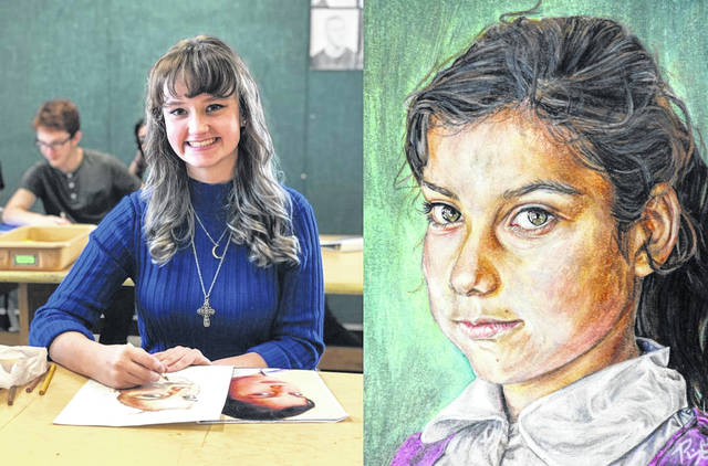 Riley Galloway of Northwest High School - art teacher Chris Enz, and the Portrait Riley drew.