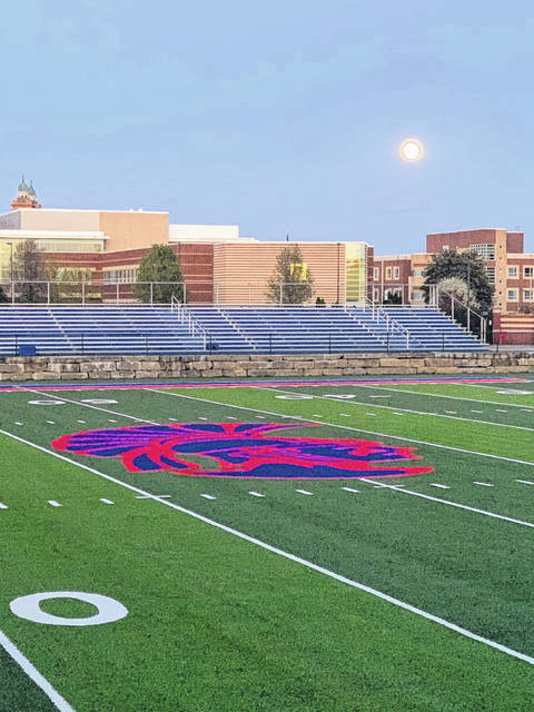 The Portsmouth Trojans logo located at center field of the newly placed turf at Trojan Coliseum.