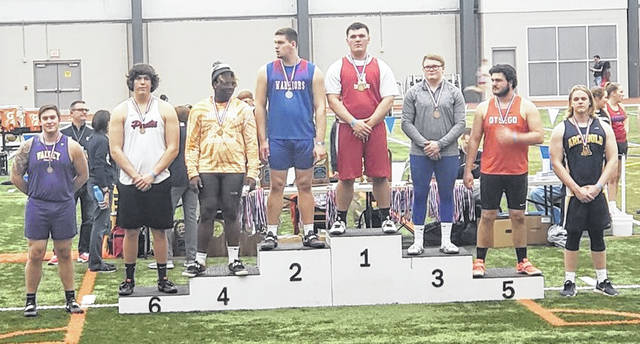 Valley High School senior Jacob Brickey, far left, placed seventh in the shot put at the annual indoor state track and field meet in early March.