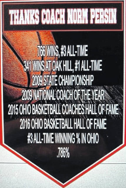 This banner, recognizing the accomplishments of Norm Persin as Oak Hill High School boys basketball coach, will hang in the Oak Hill High School gymnasium.