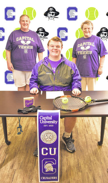 Wheelersburg High School senior Tanner Preston, seated, announces his intention to play collegiate tennis at Capital University. Standing are father Todd Preston (left) and mother Jill Preston (right).