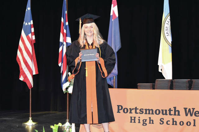 Lainey Ayers poses with her diploma at Portsmouth West High School graduation in West Portsmouth May 20. Photo submitted by Lainey Ayers