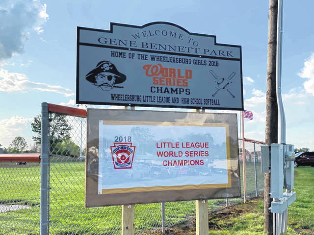 This sign stands at the entrance of Gene Bennett Park, home of Wheelersburg Little League and Wheelersburg softball.