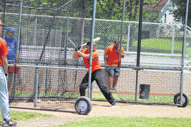 2020 Portsmouth West senior Cade McNeil takes pitches during batting practice on Saturday, May 30 during the Portsmouth Post 23 Senior team tryouts.
