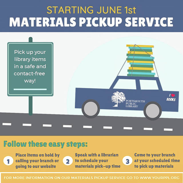Material Pick-up service for the Portsmouth Public Library and branches opened June 1st.