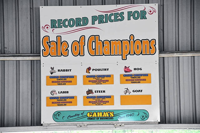 This sign pictured during the 2019 Scioto County Fair lists the record prices for Grand Champion and Reserve Champion livestock during past Scioto County Fairs.