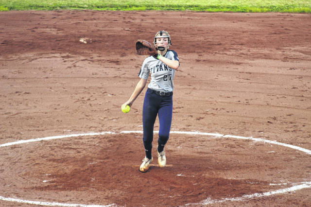Notre Dame's Gwen Sparks delivers a pitch in the early stages of the Lady Titans' scrimmage versus Portsmouth on Tuesday.