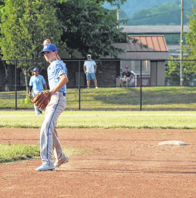 Portsmouth Post 23 second baseman Tyler Duncan fires a throw to first base during the Junior team's baseball game against Jackson on Tuesday at Portsmouth High School's Hatcher Field.