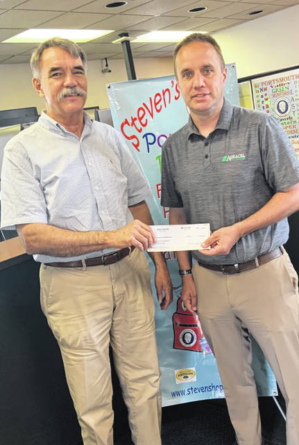 Mark Hunter (L) receiving the check from Jason Kester (R) for Steven Hunter Hope Fund