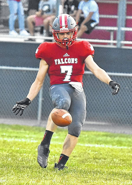 Minford's Matthew Risner (7) punts the ball during the Falcons' football game against Rock Hill last season.